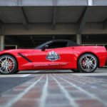 A 2014 Corvette Stingray convertible will serve as the pace car for the inaugural Verizon IndyCar Series Grand Prix of Indianapolis Saturday, May 10 at the Indianapolis Motor Speedway. Although this weekendÕs event will be the first Grand Prix of Indianapolis, it wonÕt be the first time a Corvette has led the field at Indianapolis Motor Speedway: A Corvette has been a pace car for the Indianapolis 500 a record 12 times, starting in 1978. A 2014 Corvette Stingray paced the Indianapolis 500 field last year. (Photo by Chris Jones for Chevrolet)