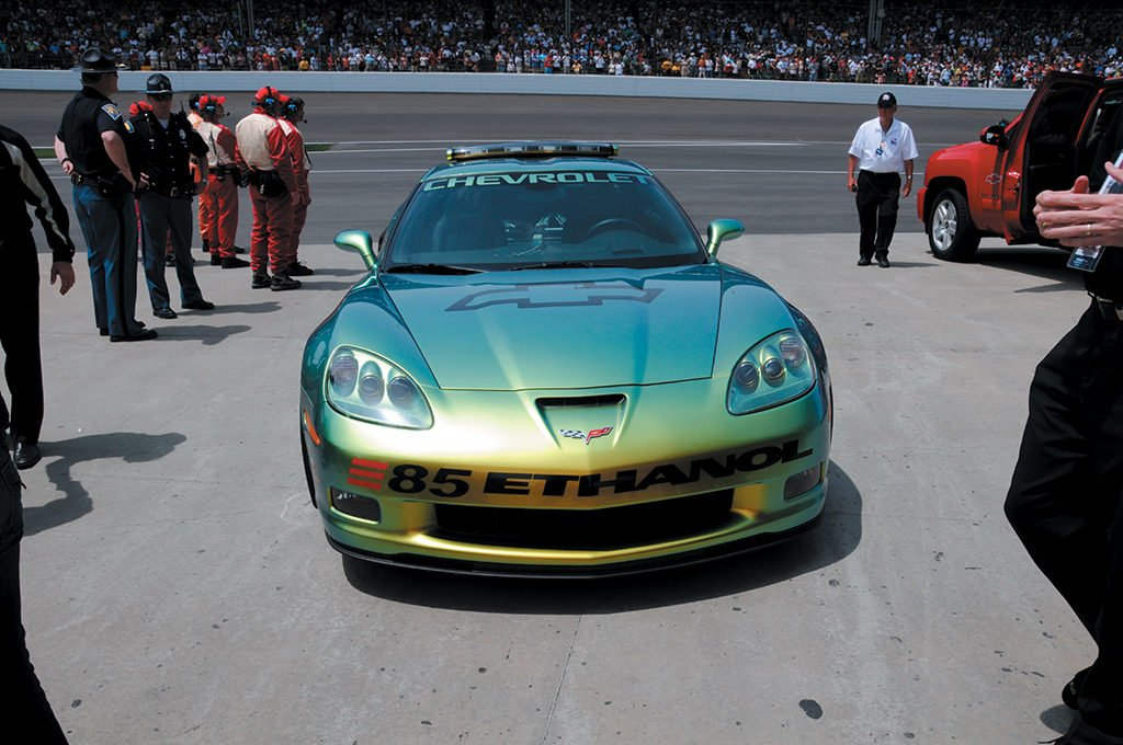2008 Corvette Z06 E85 Indy 500 Pace Car driven during the race's pace lap by two-time Indianapolis 500 champion Emerson Fittipaldi. Photo Credits: David Estes.