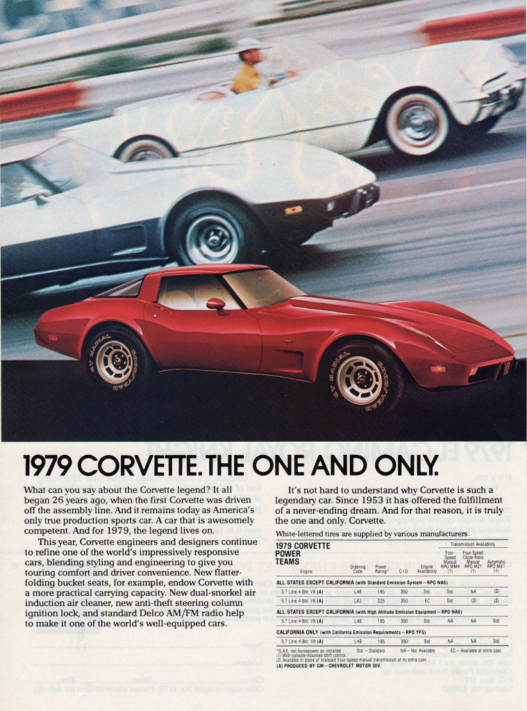 Our first 1979 Corvette advertisement we are going to look at is titled 1979 Corvette - The One and Only.