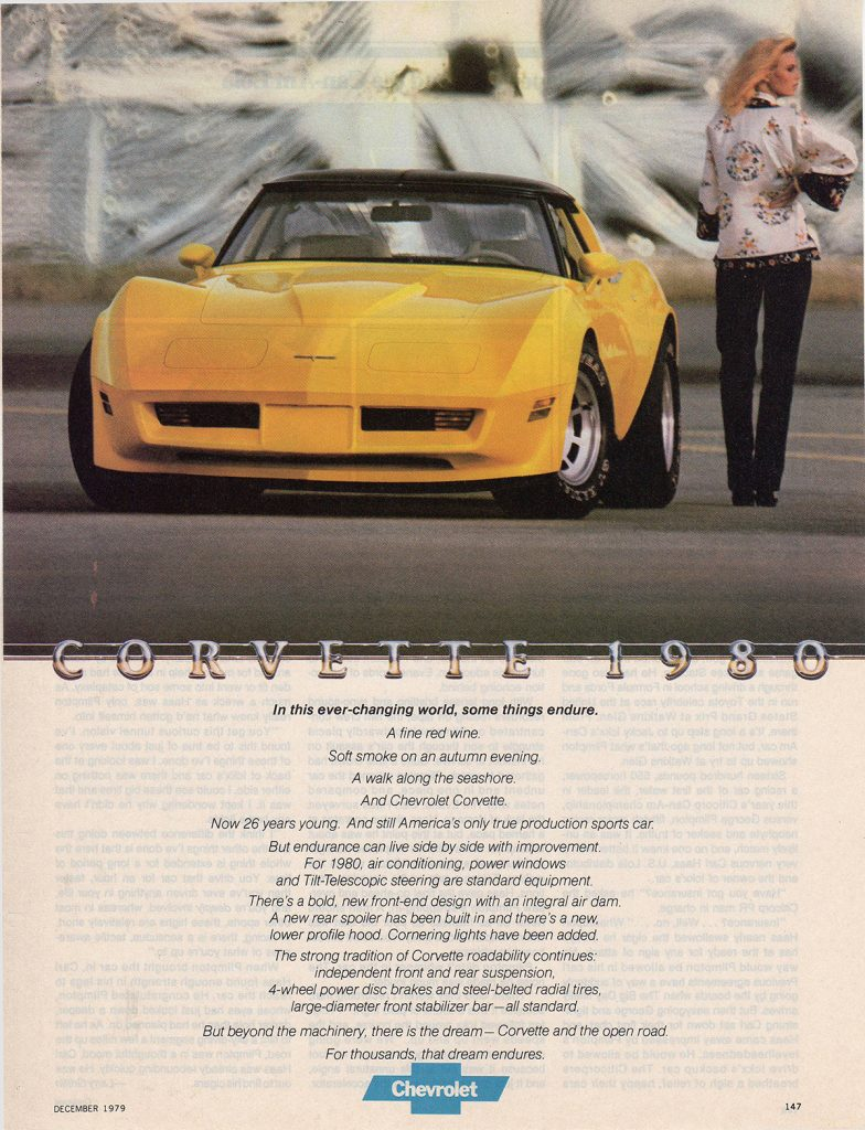 "This 1980 Corvette magazine advertisement is titled: Corvette 1980 and features a poem ""In this ever-changing world, some things endure..."""