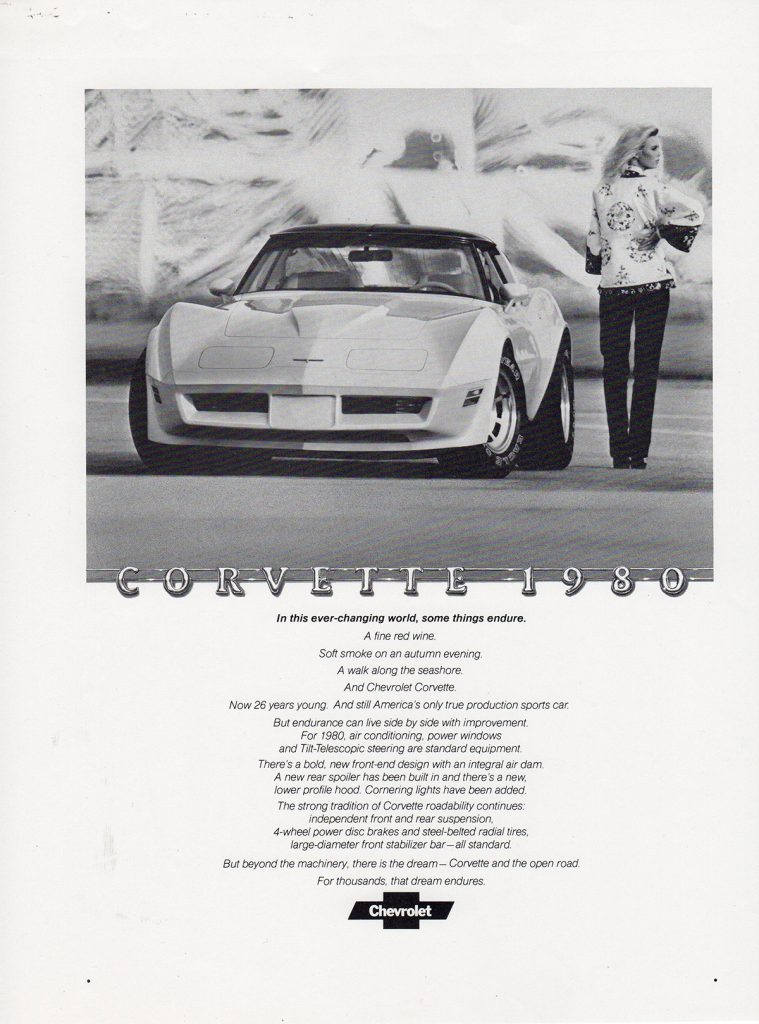 1980 Corvette Advertisement that ran in black and white.